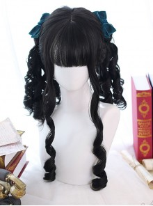 Black Roman-curly Long Curly Hair Classic Lolita Wigs