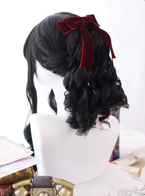Black Roman-curly Long Curly Hair Classic Lolita Wigs