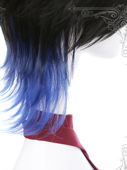 Black And Blue Gradient Mullet Hairstyle Lolita Male Wigs