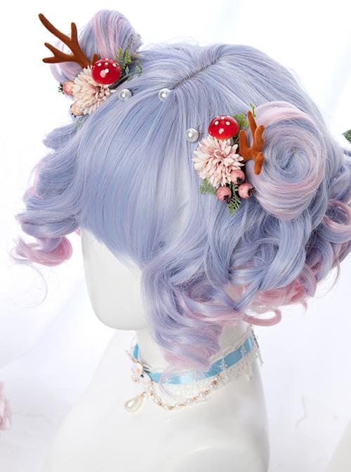 Harajuku Style Tea Party Purple Pink Gradient Short Curly Hair Sweet Lolita Wig