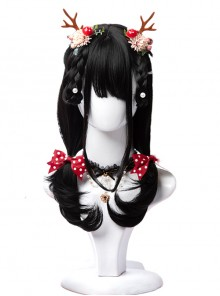 Natural Black Inner Buckle Long Curly Hair Classic Lolita Wigs