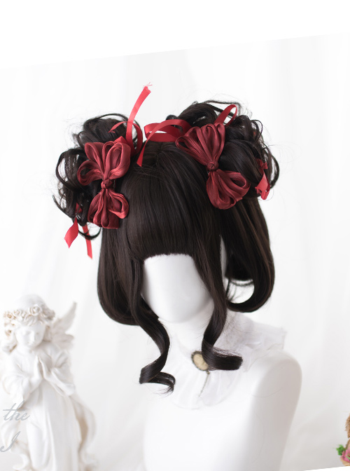 Brown-black Double Ponytail Curly Hair Sweet Lolita Wigs