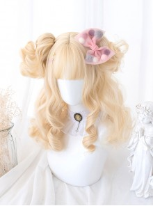 Cute Golden Short Curly Hair Sweet Lolita Wigs