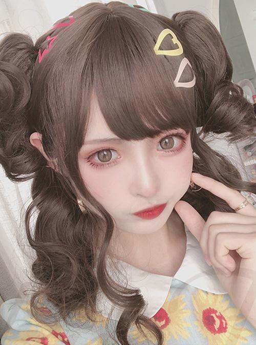 Cute Golden Short Curly Hair Sweet Lolita Wigs