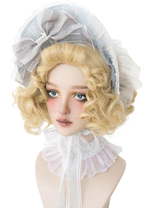 Golden Elegant Short Curly Hair Classic Lolita Wigs