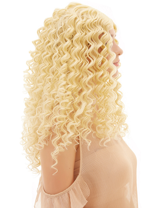 Golden Long Hair Centre-parted Small Curly Sweet Lolita Wigs