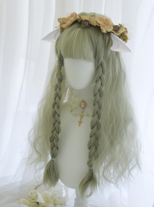 Tea Elves Gray Green Long Curly Hair Classic Lolita Wigs