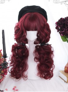 Dark Red Wool-curl Small Curly Hair Classic Lolita Wigs