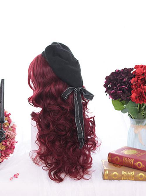 Dark Red Wool-curl Small Curly Hair Classic Lolita Wigs
