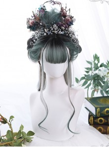 Gray Green Gradient Long Curly Hair Classic Lolita Wigs