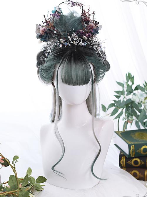 Gray Green Gradient Long Curly Hair Classic Lolita Wigs