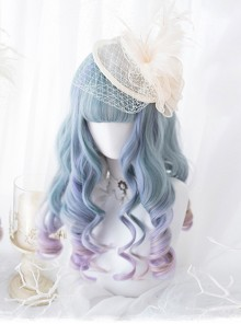 Blue Purple Mix Gradient Long Curly Hair Classic Lolita Wigs