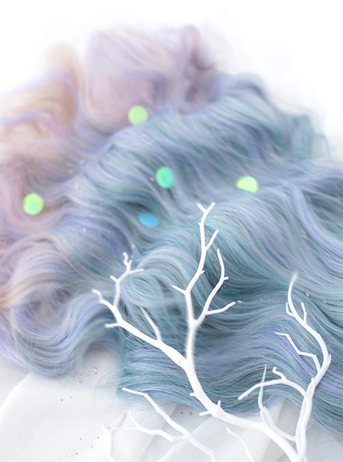Blue Purple Mix Gradient Long Curly Hair Classic Lolita Wigs