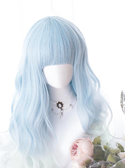 Sky Blue Gradient Long Curly Hair Classic Lolita Wigs