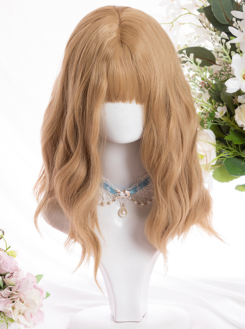 Vitality Cute Brown Tiny Noodle Curl Medium Length Curly Hair Classic Lolita Wigs