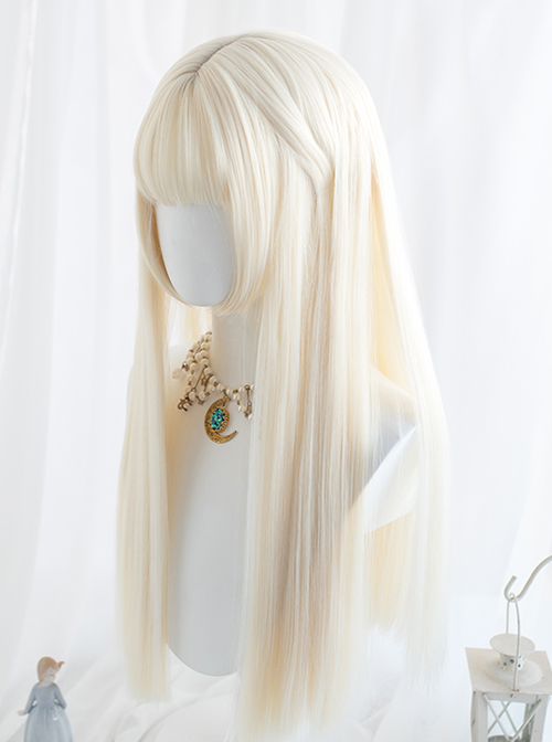 Milk White Long Straight Hair Classic Lolita Wigs