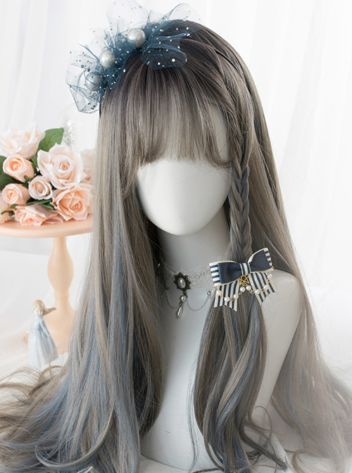 Gray Highlights Blue Gradient Long Curly Hair Classic Lolita Wigs