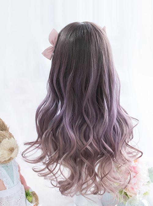 Astrological Girls Purple Gradient Long Curly Hair Classic Lolita Wigs