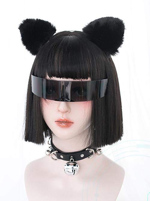 Natural Black Short Straight Hair Harajuku Gothic Lolita Wigs