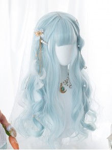 Water Blue Long Curly Hair Sweet Lolita Wigs