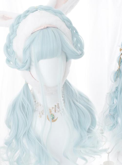 Water Blue Long Curly Hair Sweet Lolita Wigs