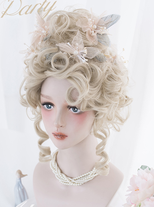 Golden High Coiled Long Curly Hair Tea Party Style Rococo Lolita Wigs