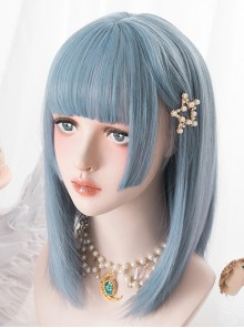 Harajuku Blue Medium Length Straight Hair Classic Lolita Wigs