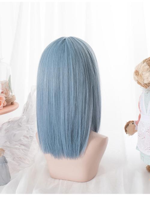 Harajuku Blue Medium Length Straight Hair Classic Lolita Wigs