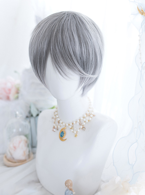Frost Gray Mixed Short Hair Classic Prince Lolita Wigs