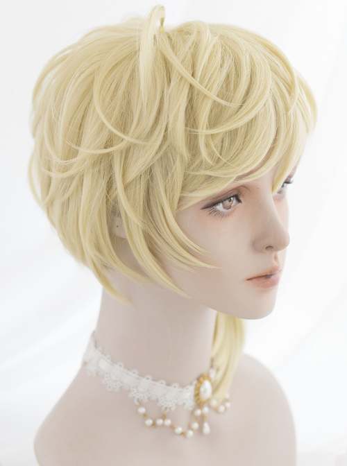 Light Mustard Color Handsome Short Hair Prince Gothic Lolita Wigs