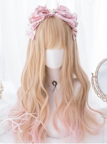 Orange-apricot Gradient Light Pink Sweet Lolita Long Curly Wigs