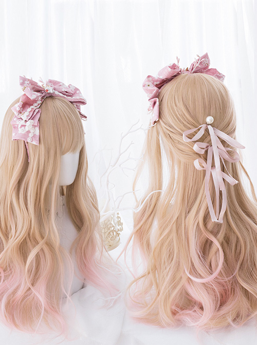 Orange-apricot Gradient Light Pink Sweet Lolita Long Curly Wigs
