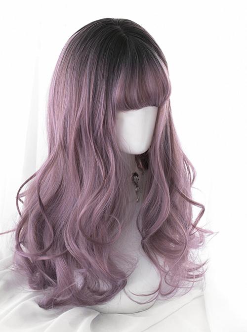 Black Gradient Purple Classic Lolita Long Curly Wigs