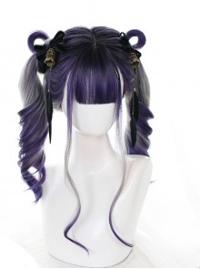 Grape Soda Series Purple Gray Gradient Gothic Lolita Long Curly Wigs