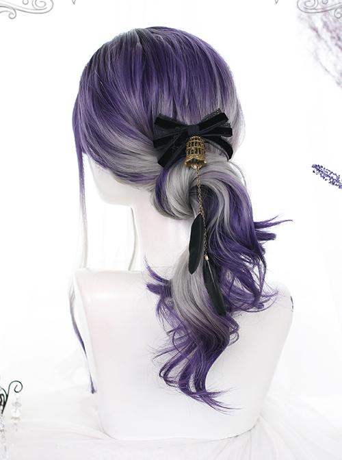 Grape Soda Series Purple Gray Gradient Gothic Lolita Long Curly Wigs