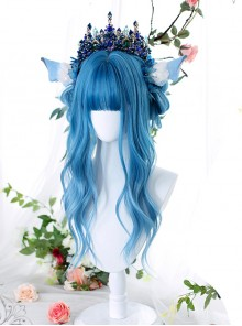 Homochromatic Blue Gradient Long Curly Classic Lolita Wigs