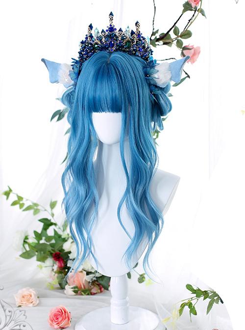 Homochromatic Blue Gradient Long Curly Classic Lolita Wigs