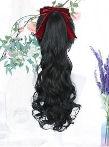 Single Long Curly Ponytail Plait Classic Lolita Medium Length Wigs