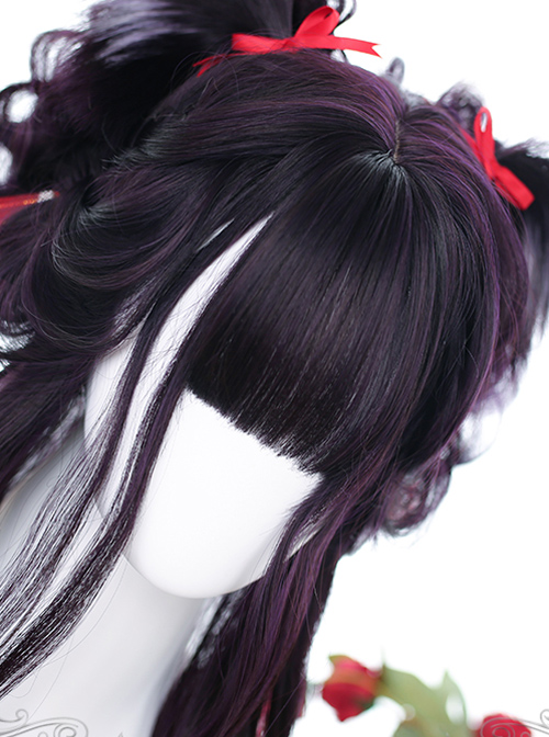 Purple Big Wavy With Cat Ears Long Curly Wig Gothic Lolita Wigs