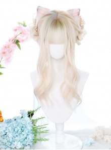 Gentle Golden Long Curly Wig Head Top Multicolor Sweet Lolita Wigs