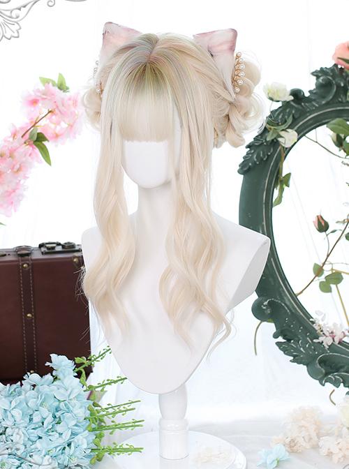 Gentle Golden Long Curly Wig Head Top Multicolor Sweet Lolita Wigs