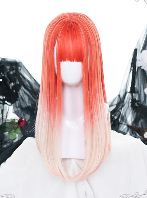 Orange Gradient Long Straight Wig Classic Lolita Wigs