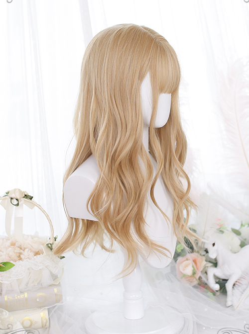 Caramel Golden Gentle Micro-curly Long Curly Wig Classic Lolita Wigs
