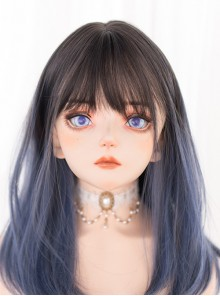 Black-brown Gradient Gray-blue Long Straight Wig Gothic Lolita Wigs