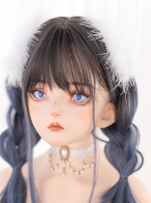 Black-brown Gradient Gray-blue Long Straight Wig Gothic Lolita Wigs