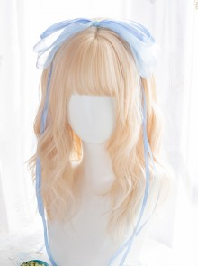 Alice Light Golden Medium Length Curly Wig Classic Lolita Wigs
