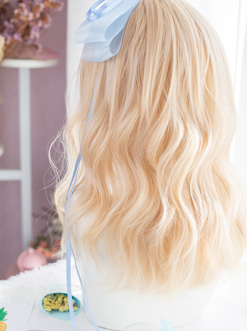 Alice Light Golden Medium Length Curly Wig Classic Lolita Wigs