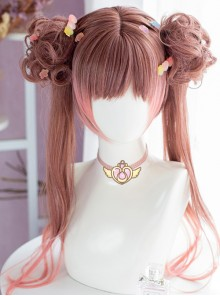 Brown-pink Gradient Dual Horsetail Wig Sweet Lolita Wigs