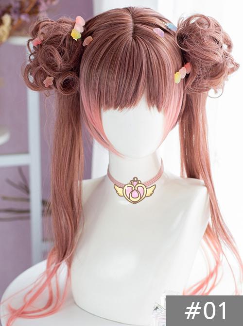 Brown-pink Gradient Dual Horsetail Wig Sweet Lolita Wigs