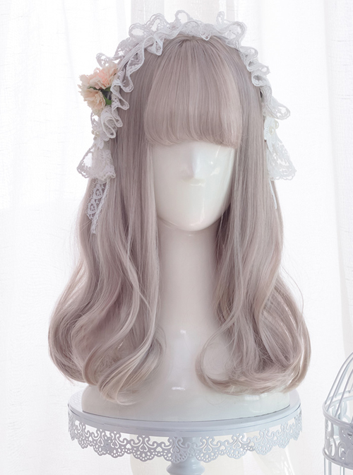 Harajuku Gray-pink Sweet Lolita Long Curly Wigs